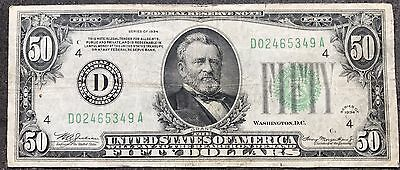 USA 50 Dollar Banknote Series 1934 Fifty Dollars FRN Cleveland 5173