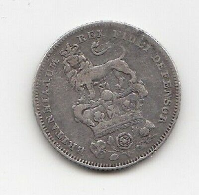 1826 King George Silver Sixpence