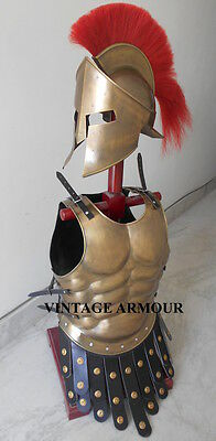 Roman Muscle Armour Jacket Medieval Cuirass brass Antique With Armour Helmet
