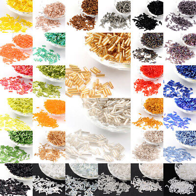 1100pcs/50g Glass Bugle Beads Loose Tube Seed Beads DIY Craft 6x1.8mm Pick Color