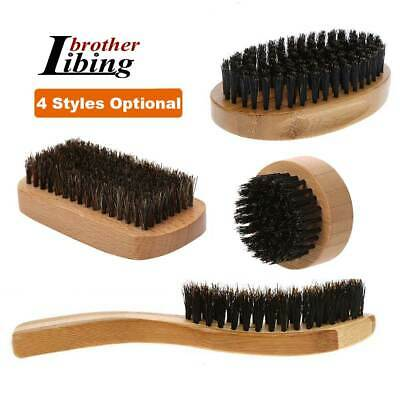 Gents Mens Boar Bristle Mustache Beard Brush Shaving Brushes Bamboo/Beech Base