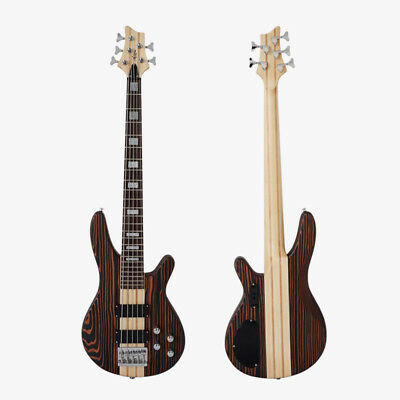 Newly Exotic Solid Zebrawood 5-String Maple Neck Electrical Bass Guitar(STB160)