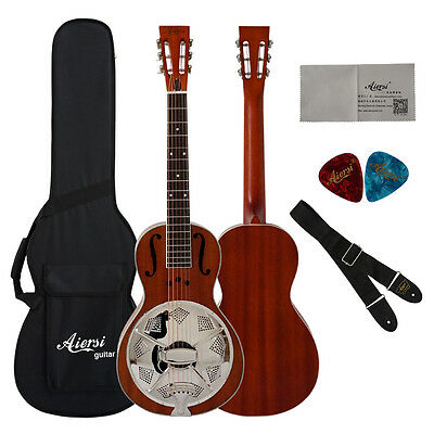 Mahogany Body Travel Acoustic Parlour Resonator Guitar Free Plywood Case TRG-03