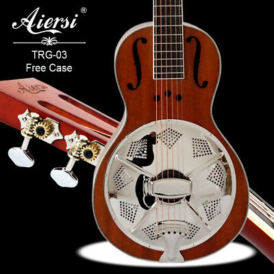 Wooden Mahogany Body Parlour Acoustic Resonator Guitar With free case TRG-03