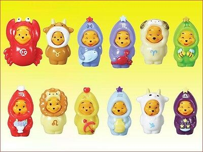 SET 12 Figures WINNIE POOH ZODIACO Mini Winnies ZODIAC RARE TOMY U.S.A. Perfect