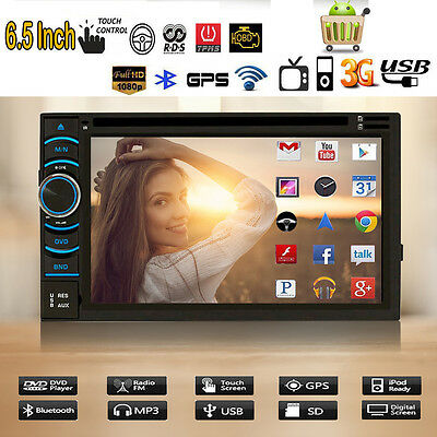 """6.5"""" Double 2 Din Car DVD Player Stereo Radio GPS WiFi 3G Quad Core Android 4.4"""