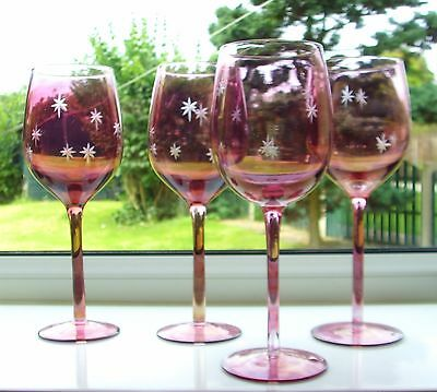 Lovely Cranberry Glass With Etched Stars - Set Of 4 Wine Glasses - Christmas