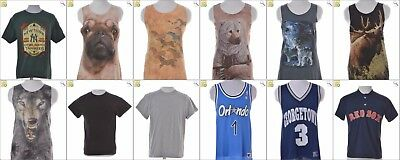 JOB LOT OF 60 VINTAGE MIXED UP-CYLCED T-SHIRTS - Mix of Era's, styles and sizes