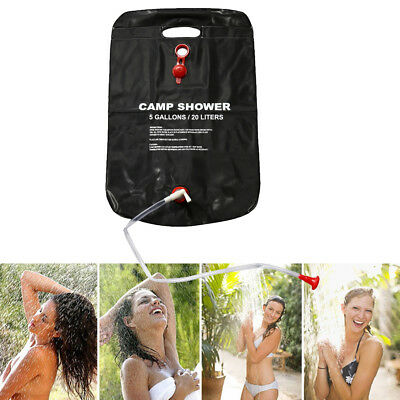 20L Portable Solar Energy Heated Shower Bathing Bag For Camping Traveling Black
