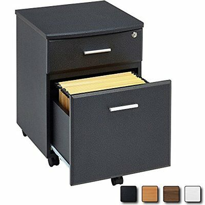 BLACK Filing Cabinet Pedestal Drawer Stationary Office Desk Storage PC Lockable