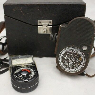 Vintage BELL and HOWELL Filmo Double Run Eight Model 134G Cine Camera+ Meter-250