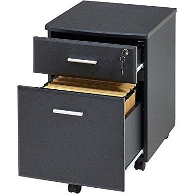 Pedestal Filing Cabinet Drawer Stationary Office Desk Storage PC Lockable BLACK