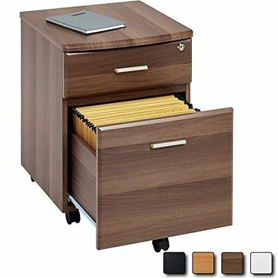 WALNUT Filing Cabinet Pedestal Drawer Stationary Office Desk Storage PC Lockable