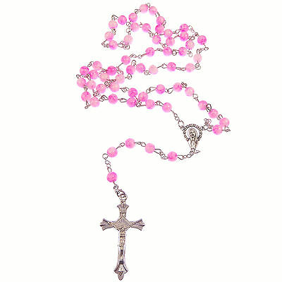 Pink & white marble glass rosary beads on silver chain 50cm length necklace