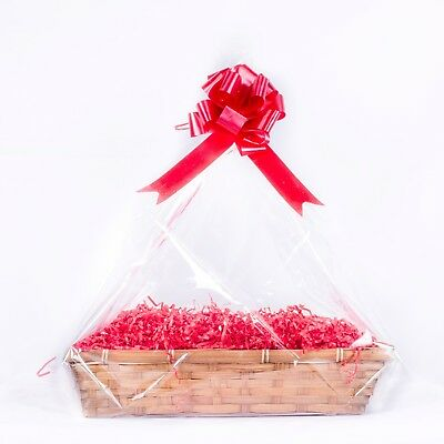 Christmas Gift Hampers Brown Bamboo Basket Shredded Paper Cello Wrap Pull Bow