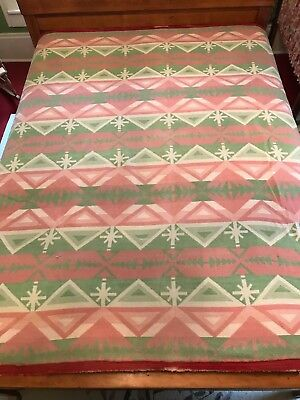 "Vintage Red (Pink) Green Soft Woven Cotton Indian Trade Camp Blanket 68""x 72"""