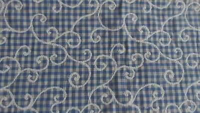 French Check Design Piece of Fabric & an overlay of Embroidered Swirls