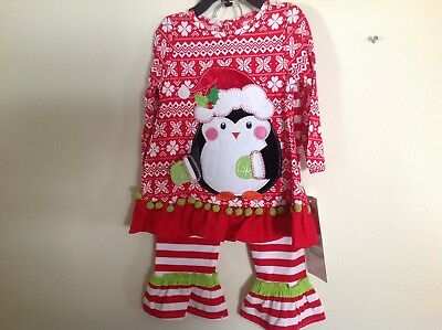 Little Girls Penguin 2 piece Christmas outfit SZ 18 months by Rare Editions NWT