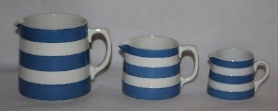 TG Green - Blue & White Cornishware - Graduated Set of 3 Jugs -Green Shield Mark