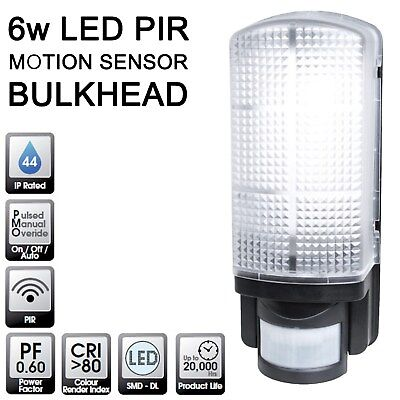Quality LED PIR Movement Detector Sensor Bulkhead Outside Security Wall Light