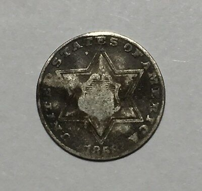 1858 3C Three Cent Silver Coin