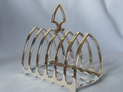 Quality Edwardian C & G Asprey solid silver large 6 division toast rack 145g