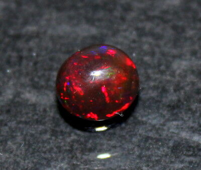 Natural Loose Gemstone Black Ethiopian Opal Multy Fire Round Shap Cab Stone1.8Ct