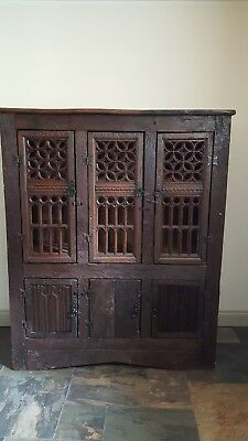 16th Century Tudor style carved oak cupboard Gothic tracery aumbry antique 17th
