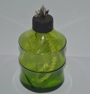 Tiki torch canister green glass