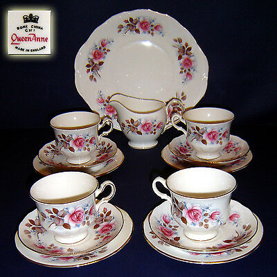 Exceptional Queen Anne Roses Tea/coffee Set/service Staffordshire