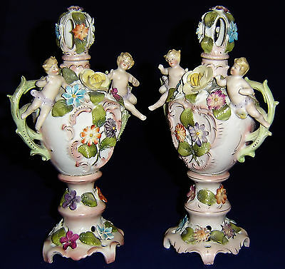 Antique Sitzendorf Putti Cherub Urn/vase Flower Encrusted Pair