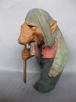 Old Wood Carved Norway Wooden TROLL Figure possibly Henning
