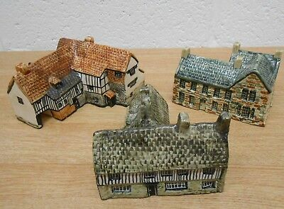 3x Slipwear Miniature Cottages - Tey Pottery, Cromwell's, Bronte, Anne of Cleves