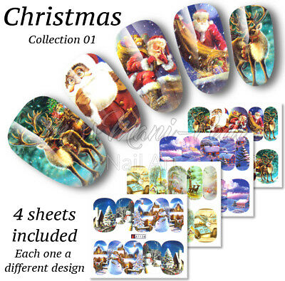 Christmas Full Nail Water Decals, Wraps, Stickers Santa Reindeer A1145 Multipack