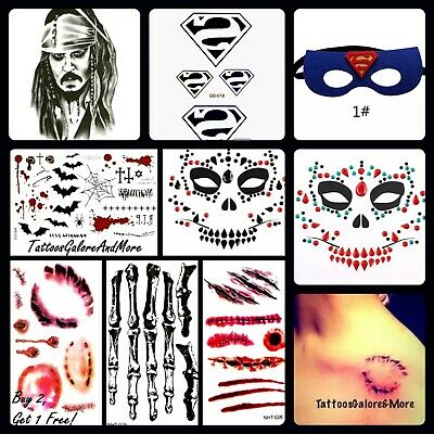 Halloween Horror Costume Temporary Tattoos, Scar, Wound, Bullet Holes, Stitches
