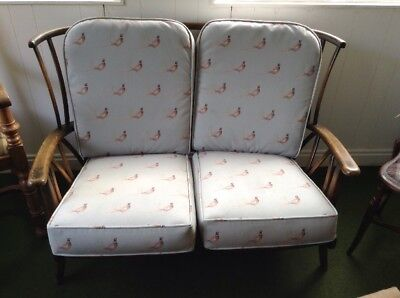 Vintage Ercol Two Seater Settee In Pheasant Print