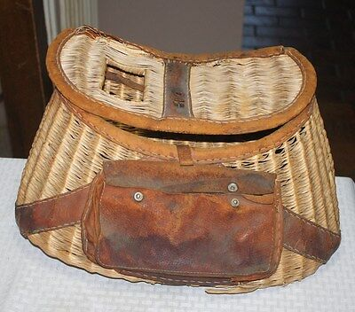 1950s Vintage 16 Inch Wicker Fishing Creel Made in Japan with Leather Harness