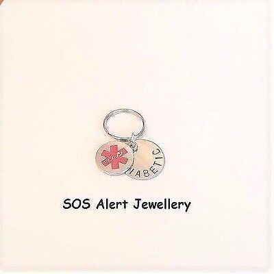 Stainless Steel Medical Alert Warning SOS Tag Key Ring with Medical Charm
