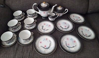 BEAUTIFUL Japanese Kutani Dragonware Moriage Hand Painted full Tea Set