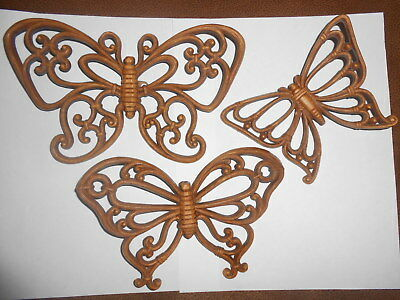 Vintage 1978 Homco Home Interiors Syroco Set Of 3 Brown  Butterflies