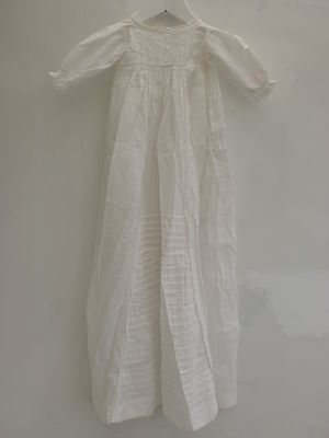 Antique Victorian Handmade Embroidered Cotton Christening Gown