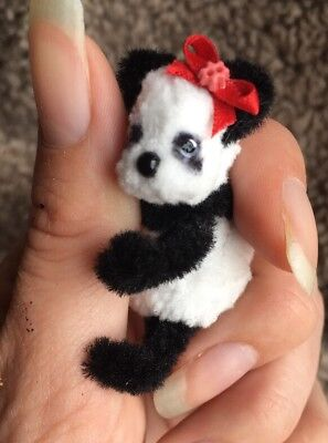 Tiny Handmade Cute Panda, Dolls Houses, Collectors 1.5 Inches