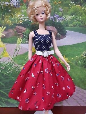Seaman's anchor day dress for Silkstone and other fashion dolls