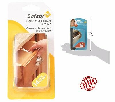 Child Proof Cabinet Door Locks Safety 14 Pack Wide Grip Kid Baby Drawer Latches