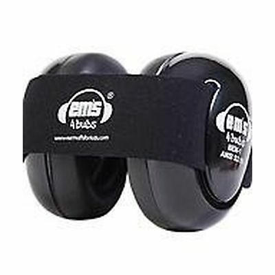 Em's 4 Bubs Hearing Protection Baby Earmuffs Size 0-18 Months (Black with Bla...