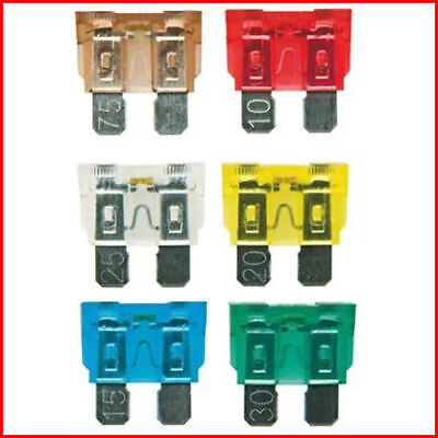 10pc MIXED AMP BLADE CAR FUSES MOTORBIKE ATM AUTO 5A 7.5A 10A 15A 20A 25A 30A
