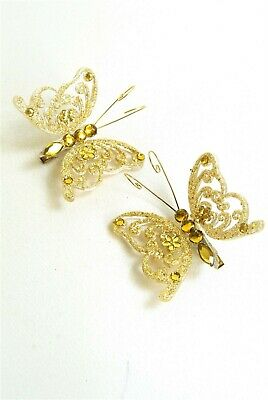 Set of two Gold Glitter and Diamante style detail Clip of Butterflies