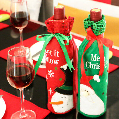 Red Wine Bottle Cover Bags Snowman/Santa Claus Christmas Decoration Sequins Gift