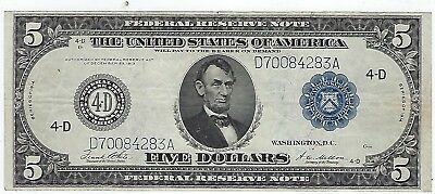 Series Of 1914 United States Blue Seal ($5)Five Dollar Federal Reserve Note