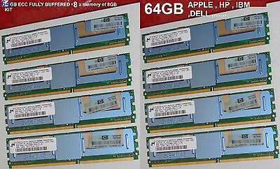 64GB KIT (8x8GB) RAM PC2-5300F DDR2667MHZ APPLE MacPro 1.1 2.1 3.1 HP 398709-071